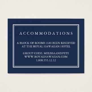 Navy and White Wedding Hotel Accommodation Cards