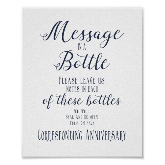 navy and white wedding message in a bottle print | Zazzle.com