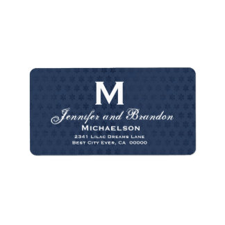 Navy and White Wedding Monogram Grunge Address Label