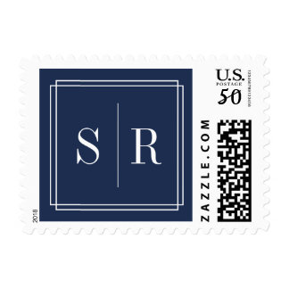 Navy and White Wedding Monogram Postage
