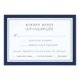 Navy and White Wedding RSVP Card w/ Meal Choice