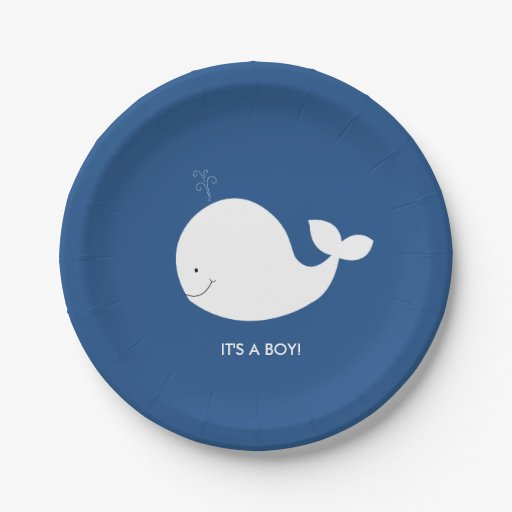 Navy and White Whale Baby Shower Paper Plate