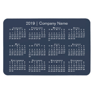 Navy and White with Company Name 2019 Calendar Magnet