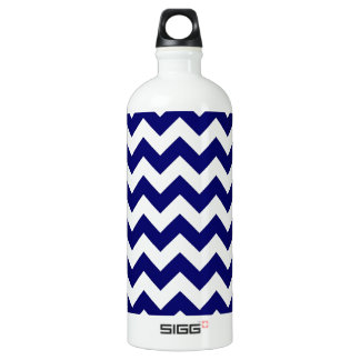 Navy and White Zigzag Aluminum Water Bottle