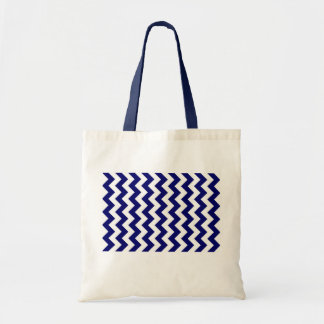 Navy and White Zigzag Budget Tote Bag