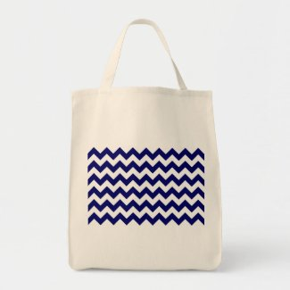 Navy and White Zigzag Canvas Bag