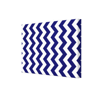 Navy and White Zigzag Canvas Print