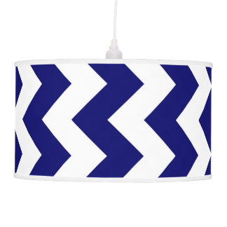 Navy and White Zigzag Ceiling Lamp