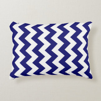 Navy and White Zigzag Decorative Pillow