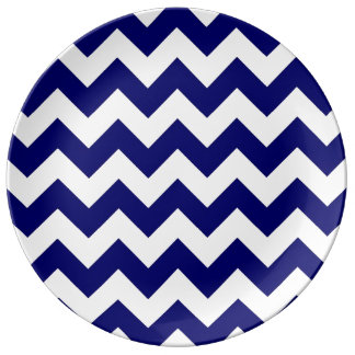 Navy and White Zigzag Dinner Plate