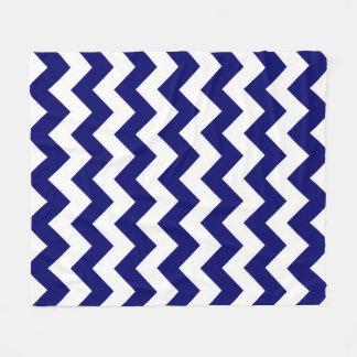 Navy and White Zigzag Fleece Blanket