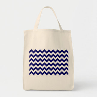 Navy and White Zigzag Grocery Tote Bag