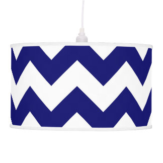 Navy and White Zigzag Hanging Pendant Lamps