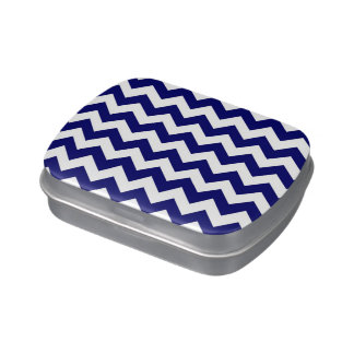 Navy and White Zigzag Jelly Belly Candy Tins