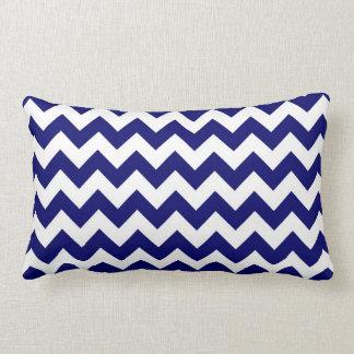 Navy and White Zigzag Lumbar Pillow