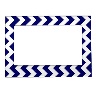 Navy and White Zigzag Photo Frame Magnets