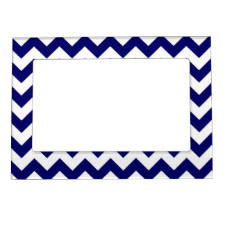 Navy and White Zigzag Magnetic Picture Frame