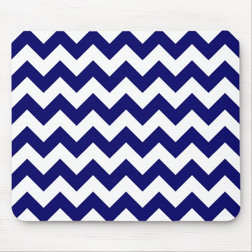 Navy and White Zigzag Mouse Pad
