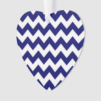 Navy and White Zigzag Ornament
