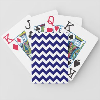 Navy and White Zigzag Poker Cards