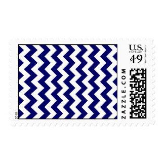 Navy and White Zigzag Postage