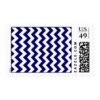 Navy and White Zigzag Postage Stamps