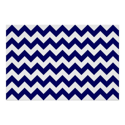 Navy and White Zigzag Poster