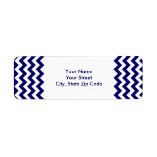Navy and White Zigzag return address label