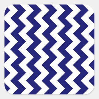 Navy and White Zigzag Square Sticker