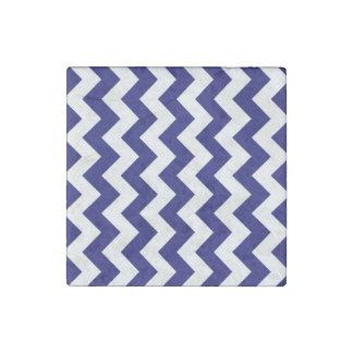 Navy and White Zigzag Stone Magnet