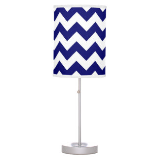 Navy and White Zigzag Table Lamp