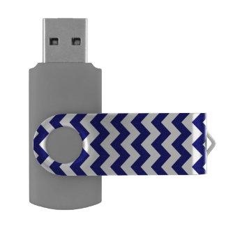 Navy and White Zigzag USB Flash Drive