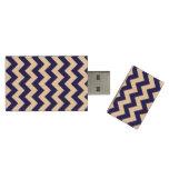 Navy and White Zigzag Wood USB 3.0 Flash Drive