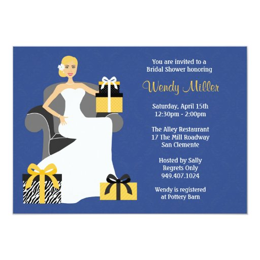 Navy and Yellow Bridal Shower Invitation