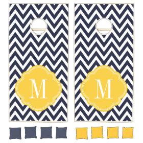Navy and Yellow Chevron Monogram Cornhole Sets