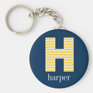 Navy and Yellow Chevrons Huge Monogram Letter H Keychain