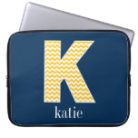 Navy and Yellow Chevrons Huge Monogram Letter K Computer Sleeve