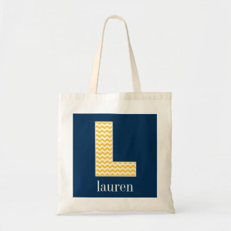 Navy and Yellow Chevrons Huge Monogram Letter L Canvas Bag