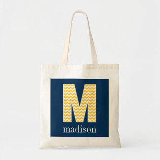 Navy and Yellow Chevrons Huge Monogram Letter M Tote Bag