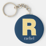 Navy and Yellow Chevrons Huge Monogram Letter R Basic Round Button Keychain