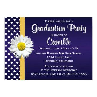 Navy and Yellow Daisy Graduation Party 5x7 Paper Invitation Card