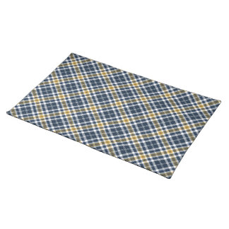 Navy and Yellow Gold Sporty Plaid Placemat