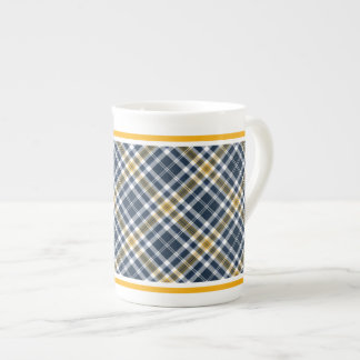Navy and Yellow Gold Sporty Plaid Tea Cup