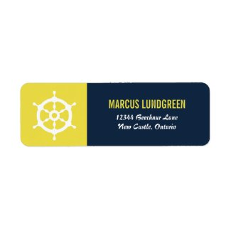 Navy and Yellow Helm Nautical Return Address Label