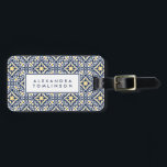 """Navy and Yellow Mediterranean Pattern Luggage Tag<br><div class=""""desc"""">Featuring a classic Spanish tile pattern in Mediterranean hues of navy blue,  sunny yellow and crisp white,  this personalized luggage tag features your name or monogram on the front with your full contact details on the back.</div>"""