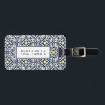 "Navy and Yellow Mediterranean Pattern Luggage Tag<br><div class=""desc"">Featuring a classic Spanish tile pattern in Mediterranean hues of navy blue,  sunny yellow and crisp white,  this personalized luggage tag features your name or monogram on the front with your full contact details on the back.</div>"