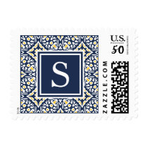 Navy and Yellow Mediterranean Pattern Monogram Postage