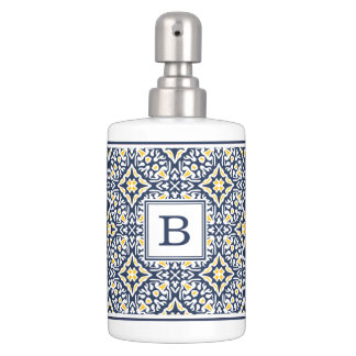 navy and yellow pattern monogram soap dispenser and toothbrush holder