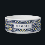 "Navy and Yellow Mediterranean Pattern Pet Bowl<br><div class=""desc"">Inspired by the traditional azulejo tiles of Spain and Portugal,  this Mediterranean style patterned dog bowl features a coastal color palette of navy blue,  sunny golden yellow and white with your pet's name on the front.</div>"
