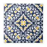 "Navy and Yellow Mediterranean Pattern Tile<br><div class=""desc"">Accent your Mediterranean style decor with these ceramic tiles featuring an intricate geometric pattern in navy blue and sunny golden yellow,  inspired by the traditional azulejo tiles of Spain and Portugal.</div>"